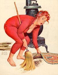 Electricidad: conflictos cognitivos disimulados, representados mediante una mujer que oculta la basura debajo de la alfombra