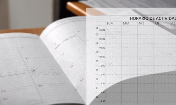 Practicar la planificacion del estudio: una guía. Agenda y horario representando planificación